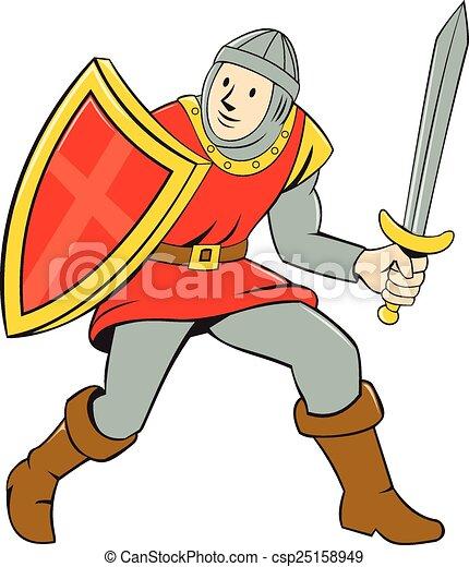 Debout bouclier chevalier p e dessin anim moyen ge debout entiers bouclier p e - Dessins moyen age ...