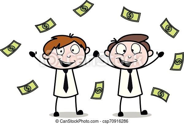 debout, bureau, argent, -, illustration, garçons, vecteur, employé, flotter, vendeur, dessin animé - csp70916286