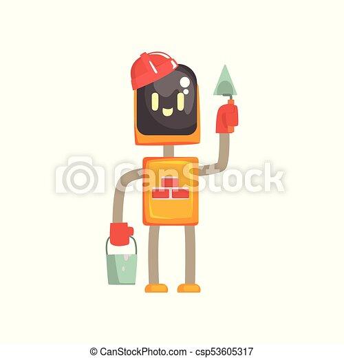 debout, caractère, seau, robot, illustration, truelle, vecteur, androïde, dessin animé, buider - csp53605317
