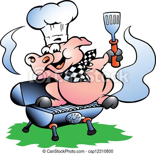Debout chef cuistot baril barbecue cochon debout - Dessin cochon debout ...