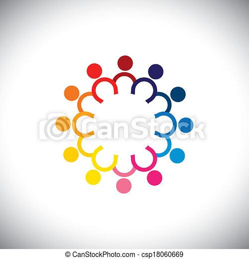 debout, concept, coloré, icônes, -, vecteur, cercle, enfants - csp18060669