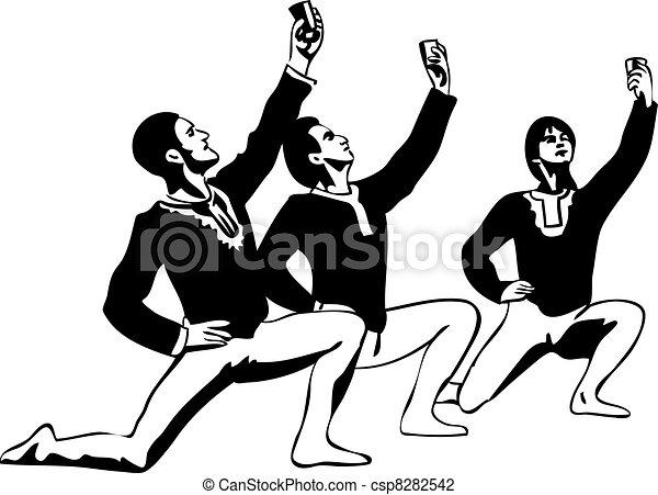 debout, croquis, pose, danseur ballet, mâle - csp8282542
