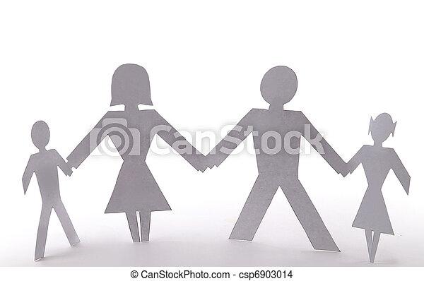 debout, famille, gens, quatre, tenant mains, coupure - csp6903014