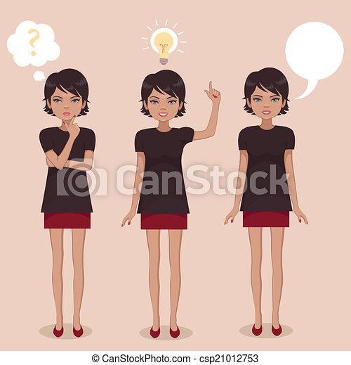 debout, femme, dessin animé - csp21012753