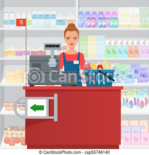 debout, femme, saleslady, caissier, supermarket., contrôle - csp55746140