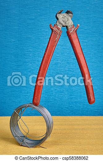 debout, fin, pince, découpage, pinces, droit, bobine, wire. - csp58388062