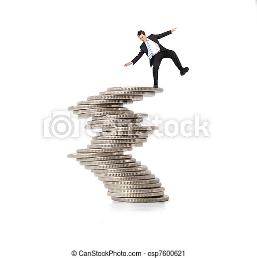 debout, financier, concept., pièces, instable, homme affaires, crise - csp7600621