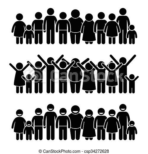 debout, groupe, enfants, heureux - csp34272628