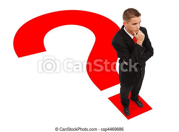 debout, homme affaires, point interrogation - csp4469686