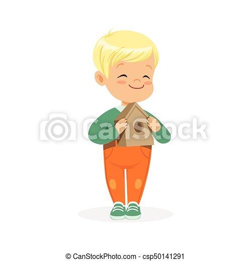 Debout mignon petit gar on illustration vecteur tenue - Dessin petit garcon ...