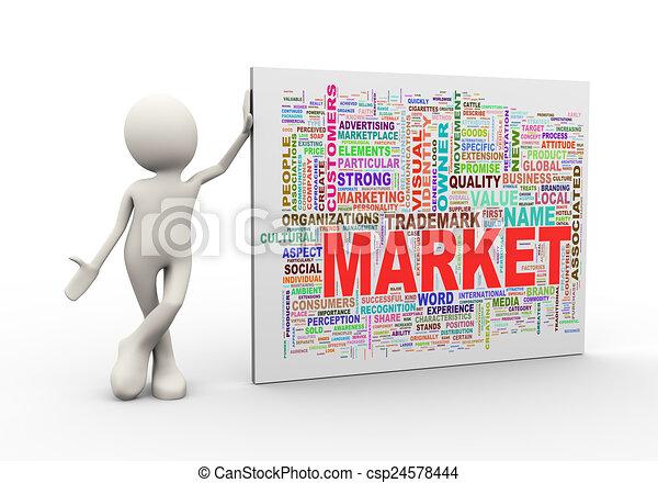 debout, mot, étiquettes, wordcloud, homme, marché, 3d - csp24578444