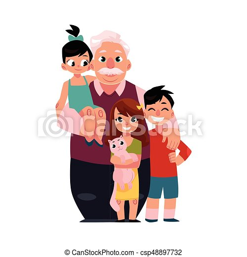 debout, petits-enfants, famille, grand-père, papy, portrait, sourire heureux - csp48897732