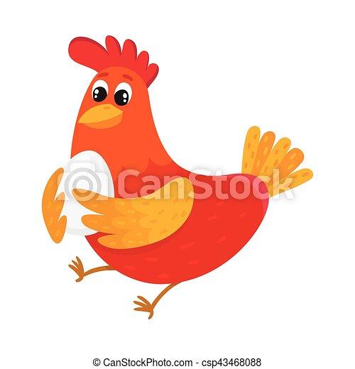Fabuleux Debout, rigolote, heureusement, dessin animé, poulet, vecteur  EJ24