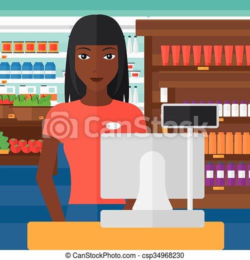 debout, saleslady, checkout. - csp34968230