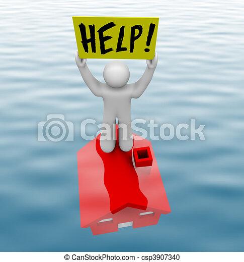 debout, sous-marin, homme, maison - csp3907340