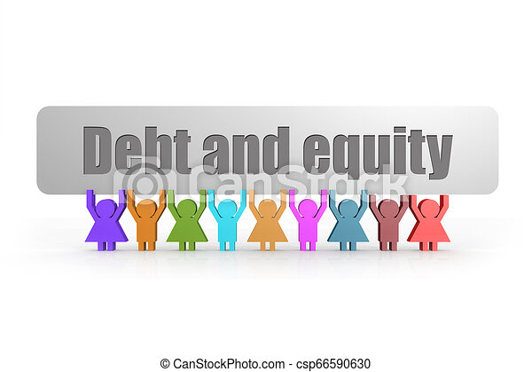 Debt and equity word on a banner hold by group of puppets - csp66590630