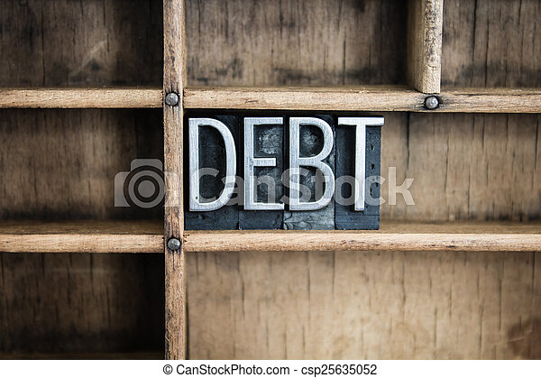 Debt Concept Metal Letterpress Word in Drawer - csp25635052