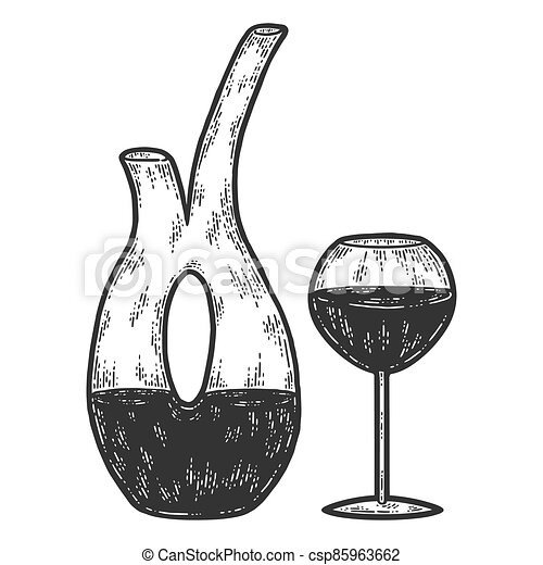 Decanter and glass of wine. Sketch scratch board imitation coloring. - csp85963662