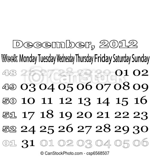 December 2012 monthly calendar - csp6568507