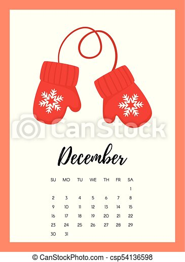 vector cartoon style illustration of december 2018 year calendar