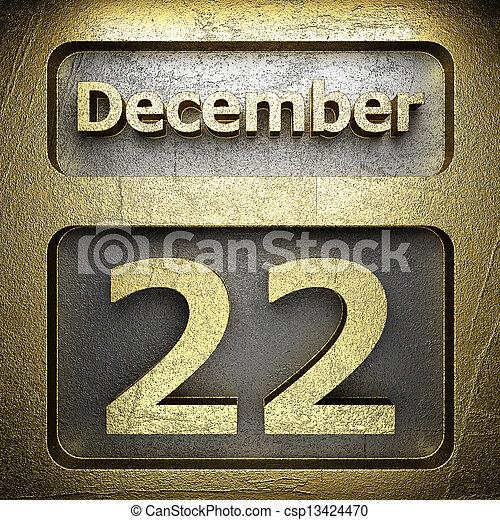 december 22 golden sign - csp13424470