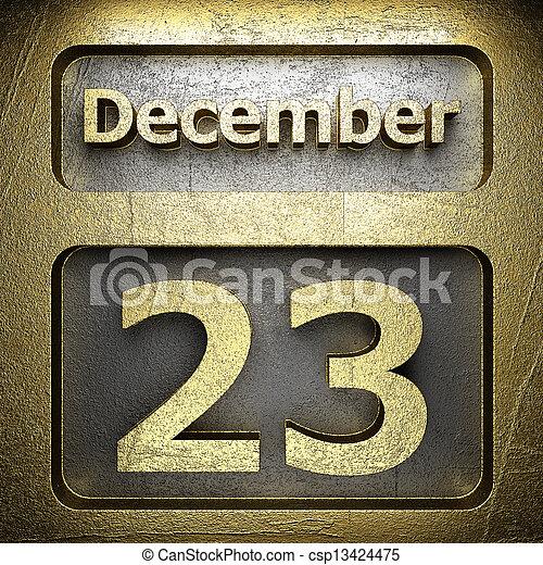 december 23 golden sign - csp13424475