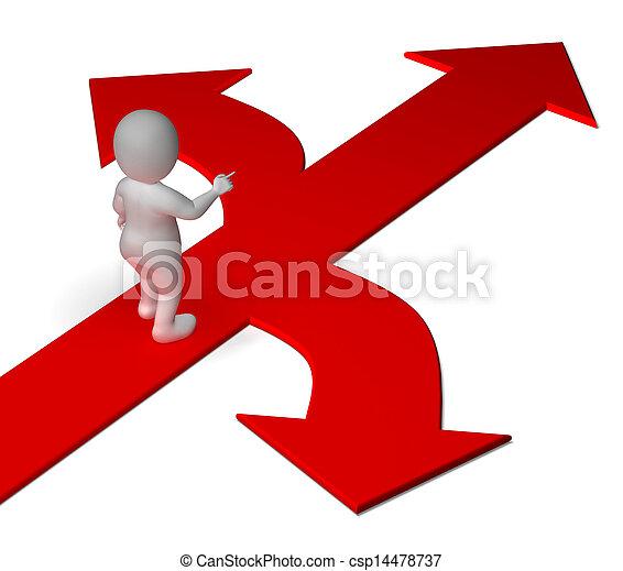 decidir, o, alternativas, actuación, flechas, opción, opciones - csp14478737