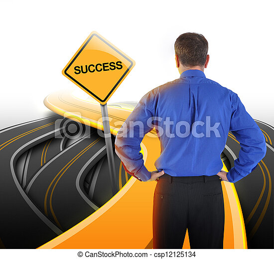 Decision Business Man Looking at Success Road - csp12125134