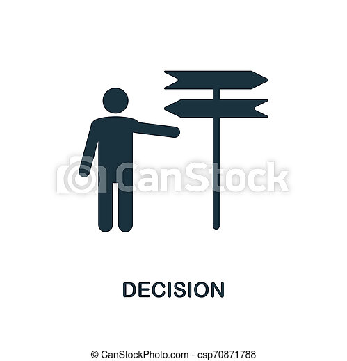 Decision icon. Monochrome style design from business ethics icon collection. UI and UX. Pixel perfect decision icon. For web design, apps, software, print usage. - csp70871788