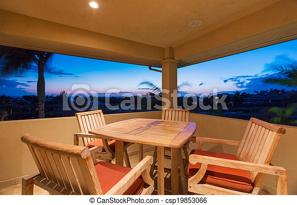 Deck and Patio Furniture at Sunset - csp19853066