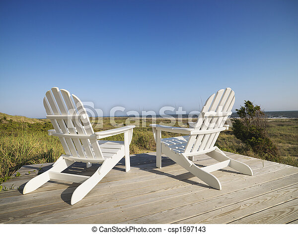 Deck chairs at beach. - csp1597143