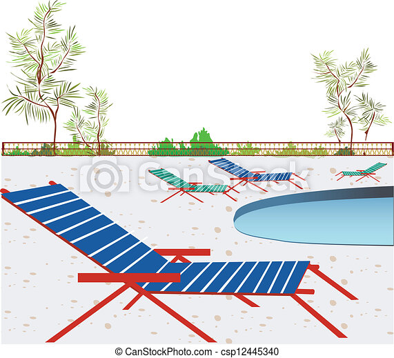 Deck Chairs Beside Swimming Pool Vector