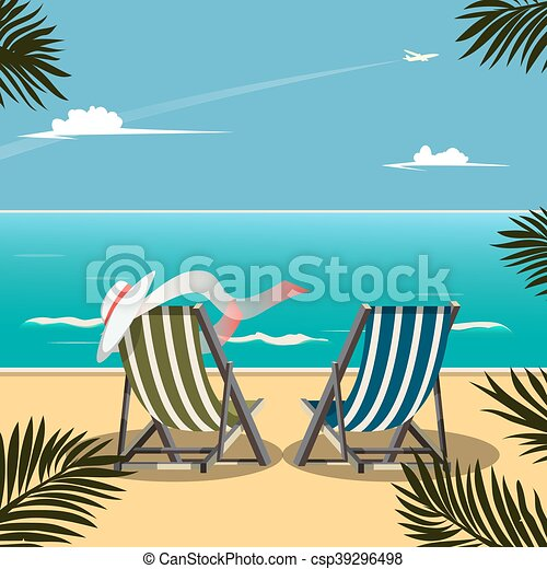 Deck chairs on the beach vector illustration - csp39296498