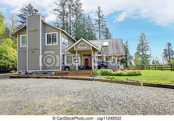 deck., maison ferme, moderne, américain, extérieur, petite maison