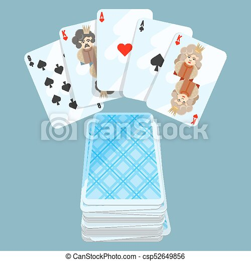 Deck of different cards collection on vector illustration - csp52649856