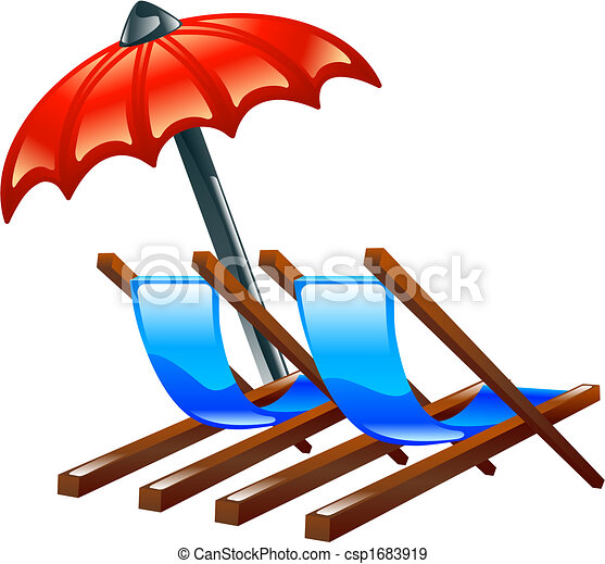 Deck or beach chairs and parasol - csp1683919