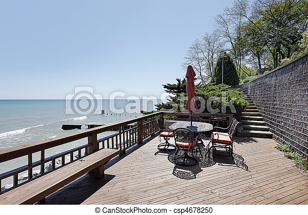 Deck with lake view - csp4678250