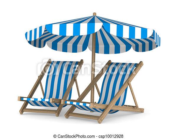 Dos sillones y sombrilla de fondo blanco. Imagen 3D aislada - csp10012928