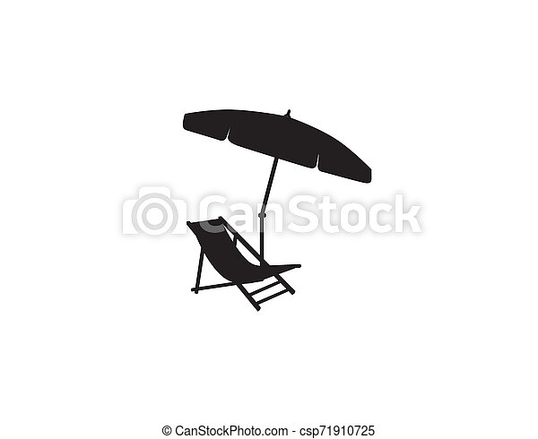 Deckchair umbrella summer beach holiday symbol silhouette icon. Chaise longue, parasol isolated. Sunbath beach resort symbol of the holidays - csp71910725