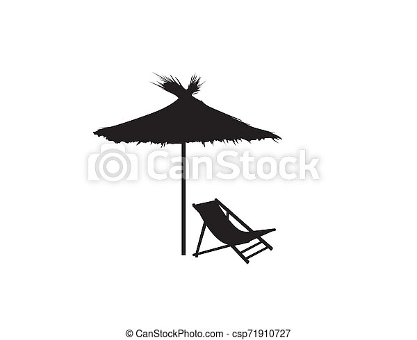 Deckchair umbrella summer beach holiday symbol silhouette icon. Chaise longue, parasol isolated. Sunbath beach resort symbol of the holidays - csp71910727