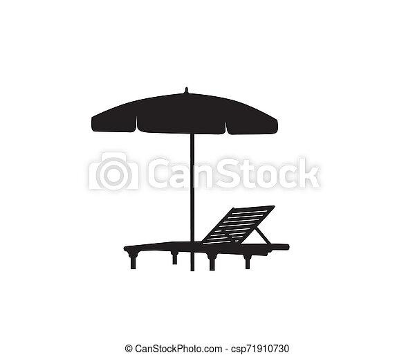 Deckchair umbrella summer beach holiday symbol silhouette icon. Chaise longue, parasol isolated. Sunbath beach resort symbol of the holidays - csp71910730