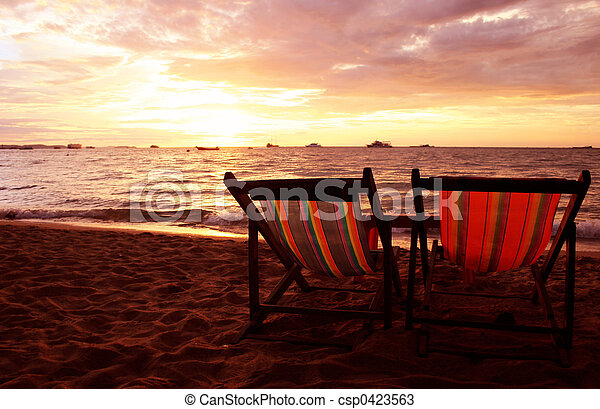 Deckchairs at Sunset - csp0423563