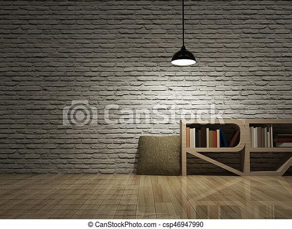 Fußboden Aus Ziegelsteinen ~ Decke boden hölzern ziegelsteine lampe bücherregal wand. decke