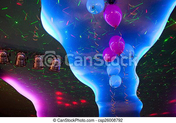 Decke, scheinwerfer, bunte, ce, beleuchtung, luftballone ...