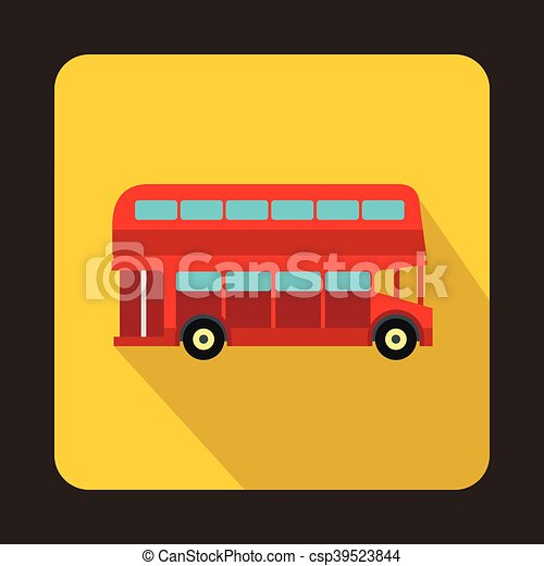 decker doppio, londra, autobus, rosso, icona - csp39523844