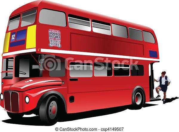 decker doppio, londra, vec, bus., rosso - csp4149507
