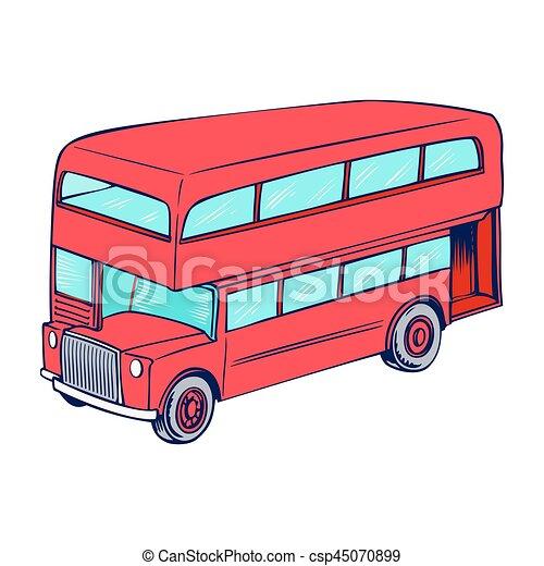 decker, doppio, rosso, autobus - csp45070899