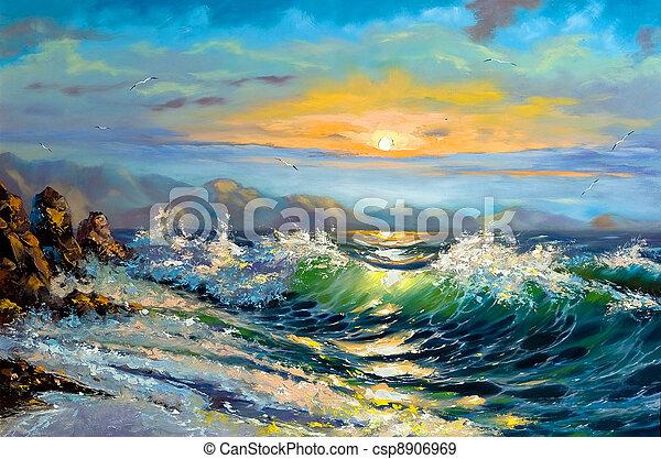 declínio, mar, tempestade - csp8906969