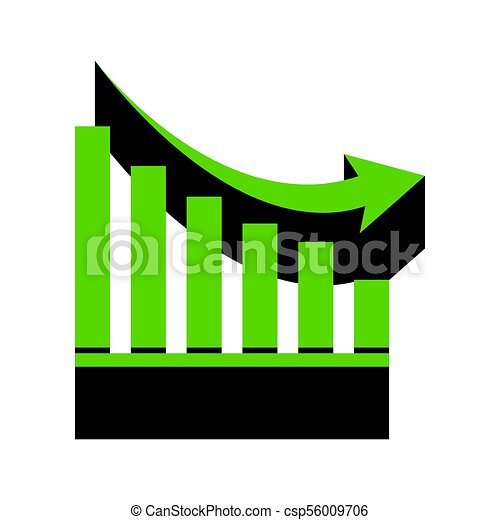 Declining graph sign. Vector. Green 3d icon with black side on w - csp56009706
