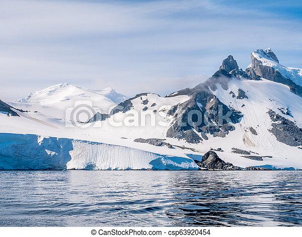 declive, hiking, spigot, pessoas, península, arctowski, antártica, pico, antárctico - csp63920454